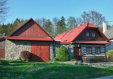 Classic czech wooden house Stock Photos