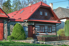 Classic czech wooden house Royalty Free Stock Images