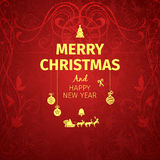 Classic dark red trendy premium elegant Merry Christmas card . Stock Photo