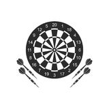 Classic dart board target and darts arrow icons isolated on white background. Royalty Free Stock Image