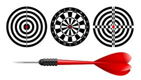 Classic dart board target set and darts red arrow isolated on white background. Vector Illustration. Black and white dartboard. Print template stock illustration
