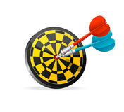Classic Darts Board with colorful darts. Royalty Free Stock Images