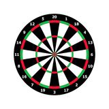 Classic darts board game template in black and white. Green and red darts board template, matrix for dart royalty free illustration