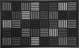 Classic design Black, Grey and white rubber doormat with black border. Isolated on a White Background royalty free stock photo