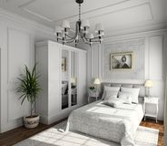 Classic design of interior. Bedroom. 3D render Stock Image