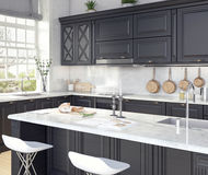 Classic design of kitchen. 3D Rendering Royalty Free Stock Photo