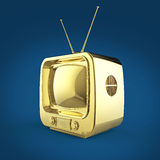 Classic Design Retro TV golden shiny glossy isolated with soft shadow render Stock Images