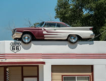 Classic DeSoto automobile. Classic Desoto sits on top of a roof Stock Image
