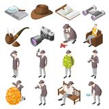 Classic Detective Isometric Icons royalty free illustration