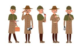 Classic Detective Vector. Retro Professional Funny Snoop, Shamus. Looking Through Magnifying Glass. Sleuthing, Disguising royalty free illustration