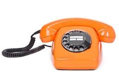 Classic dial phone on white Stock Photos