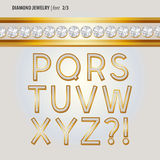 Classic Diamond Jewelry Alphabet Vector Stock Images
