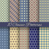 Classic different vector seamless patterns (tiling) Royalty Free Stock Images