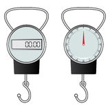 Classic and digital hook scale Stock Photos