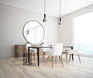 Classic dining room corner, round mirror Royalty Free Stock Photography