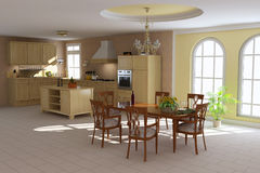 Classic dining room and kitchen vector illustration