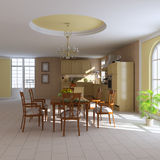 Classic dining room and kitchen Royalty Free Stock Photography