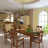 Classic dining room and kitchen Stock Image