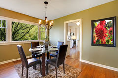 Classic dining room with leather chairs. Royalty Free Stock Photos