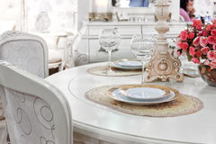 Classic dining-room or restaurant interior Stock Photos