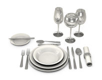 Classic Dinnerware in the restaurant Stock Images