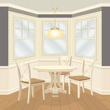 Classic dinning room with round table and chairs bay window. Home interior with wooden panels and furnishing. Vector 3d illustration in cartoon style Royalty Free Stock Photos