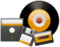 Classic disks and tapes Royalty Free Stock Photos