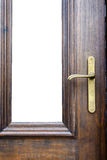 Classic door handle on wood door Royalty Free Stock Image