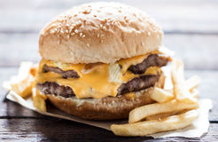 Classic double cheesburger Stock Photos