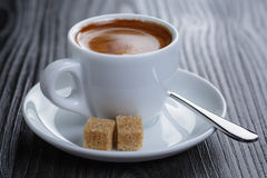 Classic double espresso on wood table Stock Photo