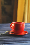 Classic double espresso on wood table stock images