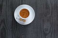 Classic double espresso on wood table Stock Photography