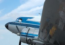 Classic Douglas DC-3 airplane. Nose, engine and propeller view of a popular vintage propeller airplane Stock Photography