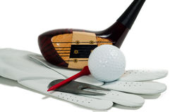 Classic driver with other golf items Royalty Free Stock Image