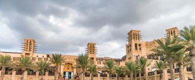 Classic Dubai buildings in Madinat Jumeirah, UAE Royalty Free Stock Photo