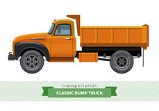 Classic dump truck side view. Dumper vector isolated illustration Royalty Free Stock Photo