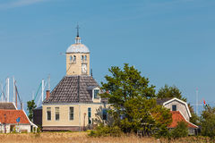 Classic Dutch wooden church and houses in Durgerdam Stock Image