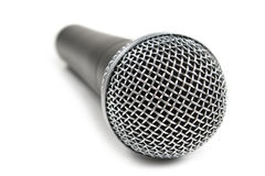 Classic dynamic microphone. Isolated on white background Stock Photos