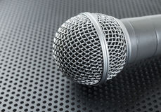 Classic dynamic microphone. On black background  perforated Stock Photography