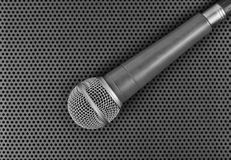 Classic dynamic microphone. On black background  perforated Stock Image