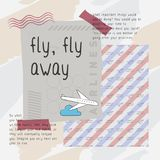 Fly fly away print vector. Classic, edgy, and flexible print vector. Playful and unique print with travel theme Royalty Free Stock Photos