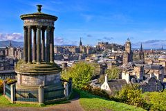 Classic Edinburgh view. Aerial view over the historic center of Edinburgh Scotland from Calton Hill Stock Image