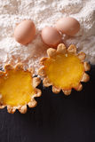 Classic Egg Tart and ingredients. vertical top view Royalty Free Stock Image