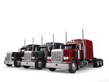 Classic eighteen wheeler trucks in red, black and gray colors. Isolated on white background vector illustration