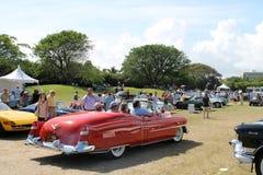 Classic Eldorado driving on field rear Royalty Free Stock Photos