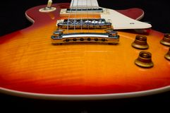 Classic Electric Guitar. An electric guitar as seen from the bottom looking towards the frets royalty free stock photo