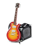 Classic electric guitar with amplifier Stock Images