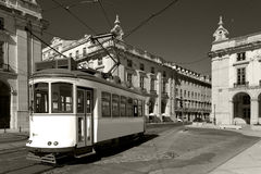 Classic electric tram in Portugal Royalty Free Stock Image