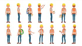 Classic Electrician Vector. Different Poses. Working Man. Isolated Flat Cartoon Character Illustration. Electrician Worker Male Vector. Makes Electrical royalty free illustration