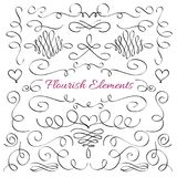 Classic elegant flourish decorative elements. Royal calligraphic swirls line vector collection stock illustration